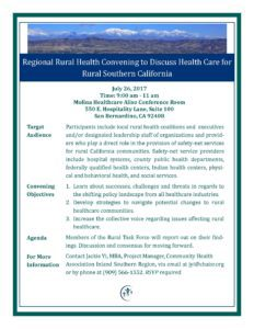 July 2017 Regional Rural Health Convening