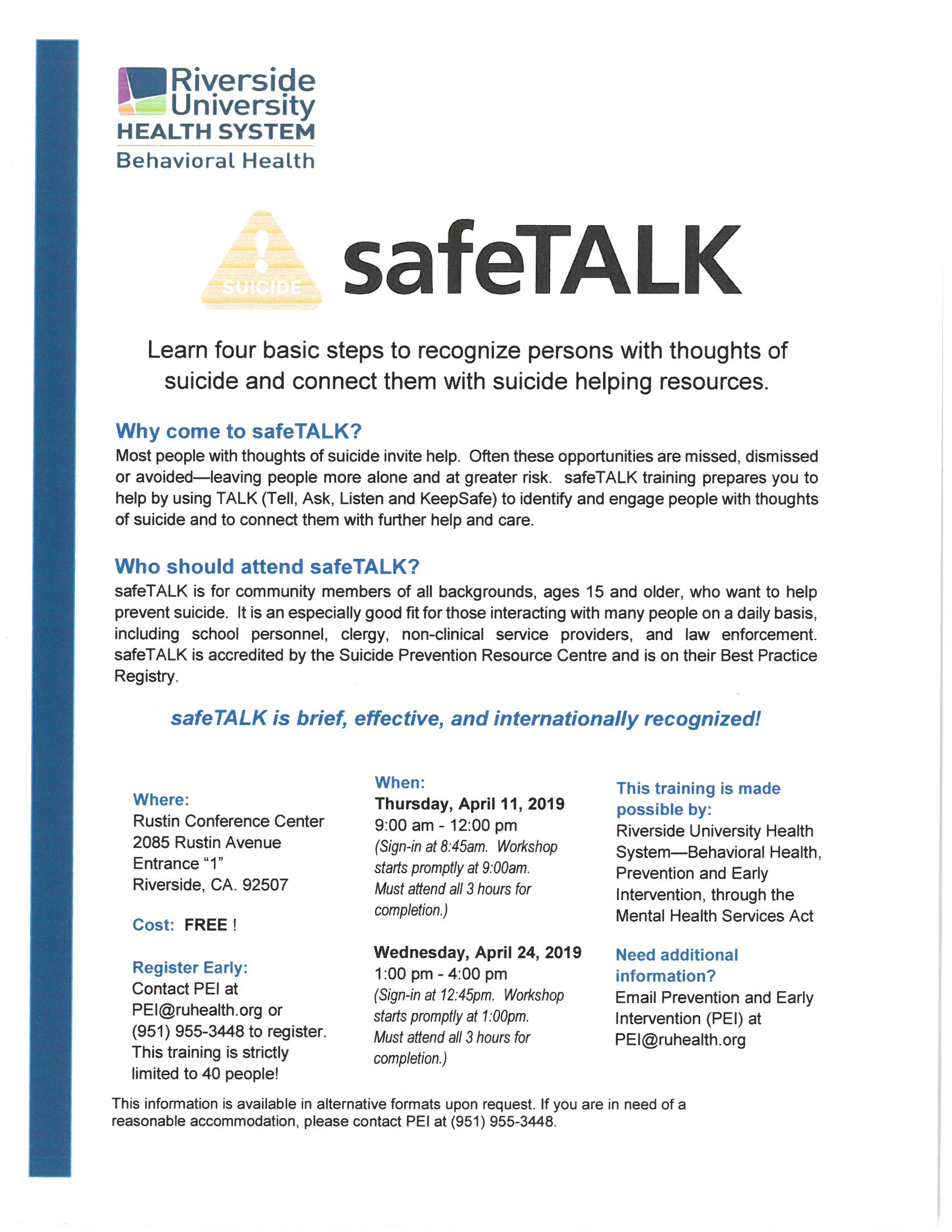 safeTalk – Community Health Association